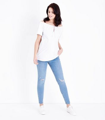 Maternity Pale Blue Light Wash Over Bump Jeans