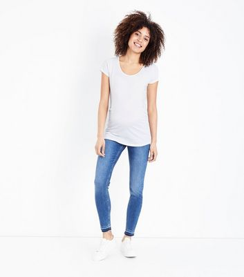Maternity Blue Drop Hem Under Bump Jeans