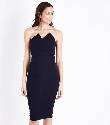 Ax Paris Navy Asymmetric Notch Neck Dress by New Look