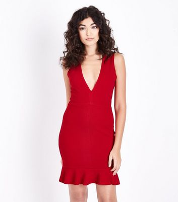 AX Paris Red Plunge Neck Frill Hem Dress