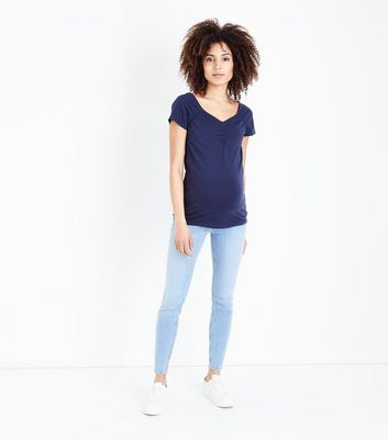 Maternity Blue Bleach Wash Under Bump Jeans