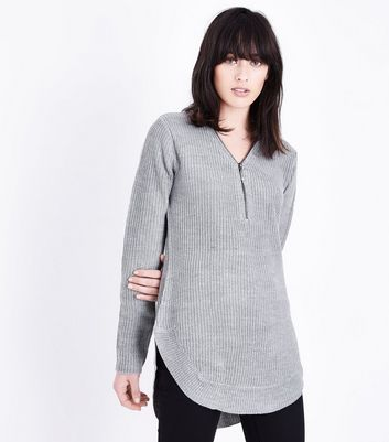 Blue Vanilla Grey Curved Hem Jumper