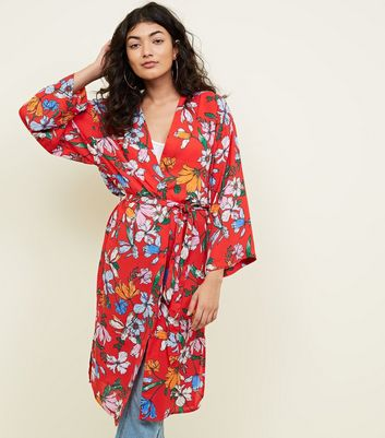 JDY Red Floral Belted Longline Kimono
