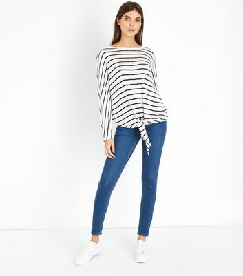 Blue Stripe Fine Knit Tie Front Batwing Top