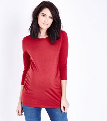 Maternity Dark Red Ruched 3/4 Sleeve T-Shirt