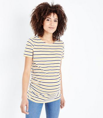 Maternity Yellow Stripe Short Sleeve T-Shirt