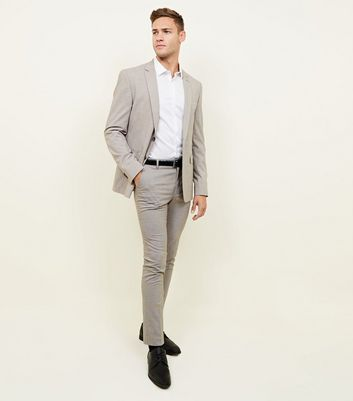 Grey and Mid Brown Houndstooth Check Skinny Trousers