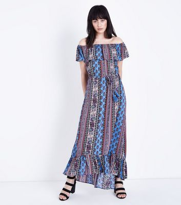 Blue Floral Stripe Tiered Bardot Maxi Dress