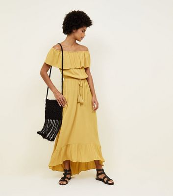 Yellow Tiered Bardot Maxi Dress