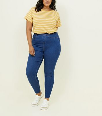 Curves Blue Mid Wash Jeggings
