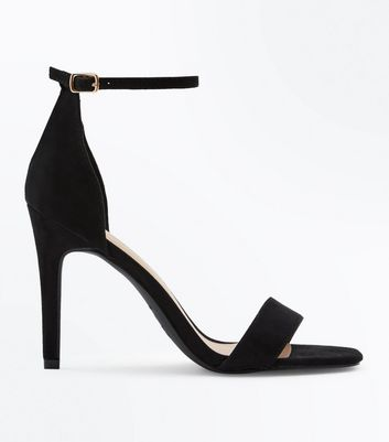 Black Suedette Square Toe Two Part Sandals