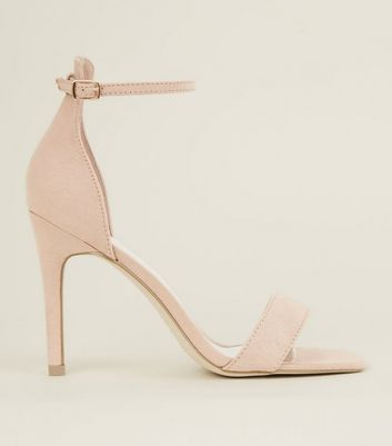 Nude Suedette Square Toe Two Part Sandals