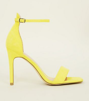 Yellow Suedette Square Toe Two Part Sandals