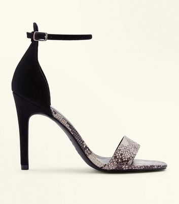 Black Faux Snakeskin Two Part Barely There Heels by New Look