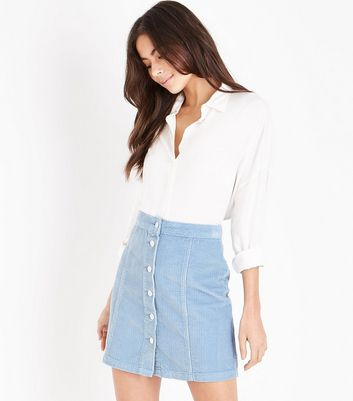 Pale Blue Button Front Corduroy Mini Skirt