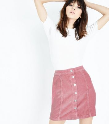 Pink Button Front Corduroy Mini Skirt