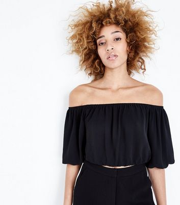 Black Balloon Sleeve Bardot Neck Crop Top