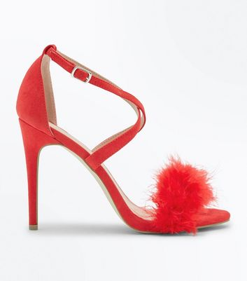 Red Suedette Feather Strap Stiletto Sandals