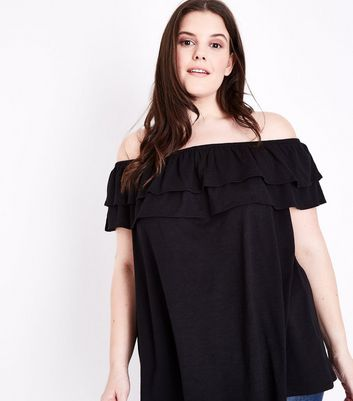 Curves Black Ruffle Bardot Neck Top