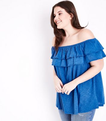 Curves Bright Blue Ruffle Bardot Neck Top