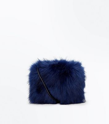 Navy Rectangle Faux Fur Cross Body Bag
