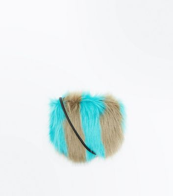 Blue Stripe Faux Fur Cross Body Bag