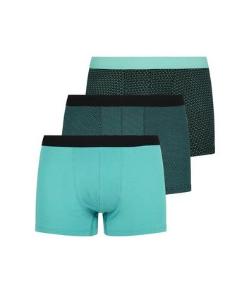 3 Pack Green Stripe and Cube Print Trunks