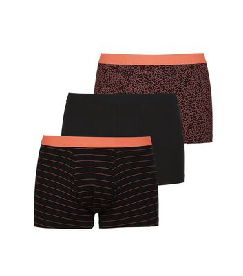 3 Pack Orange and Black Geometric Print Trunks