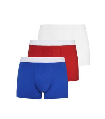 3 Pack Red Blue and White Trunks