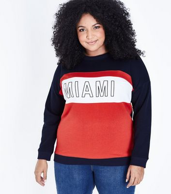 Curves Navy Colour Block Miami Print Sweatshirt