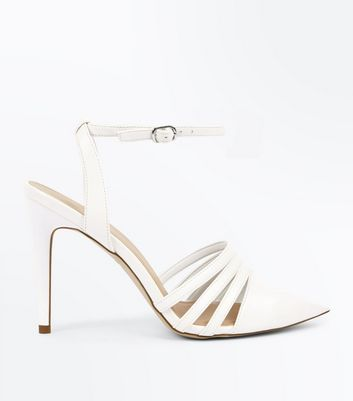 White Caged Ankle Strap Stiletto Heels