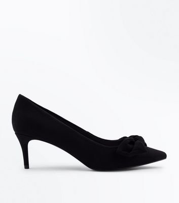 Black Suedette Bow Front Pointed Kitten Heels