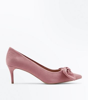 Pink Suedette Bow Front Pointed Kitten Heels