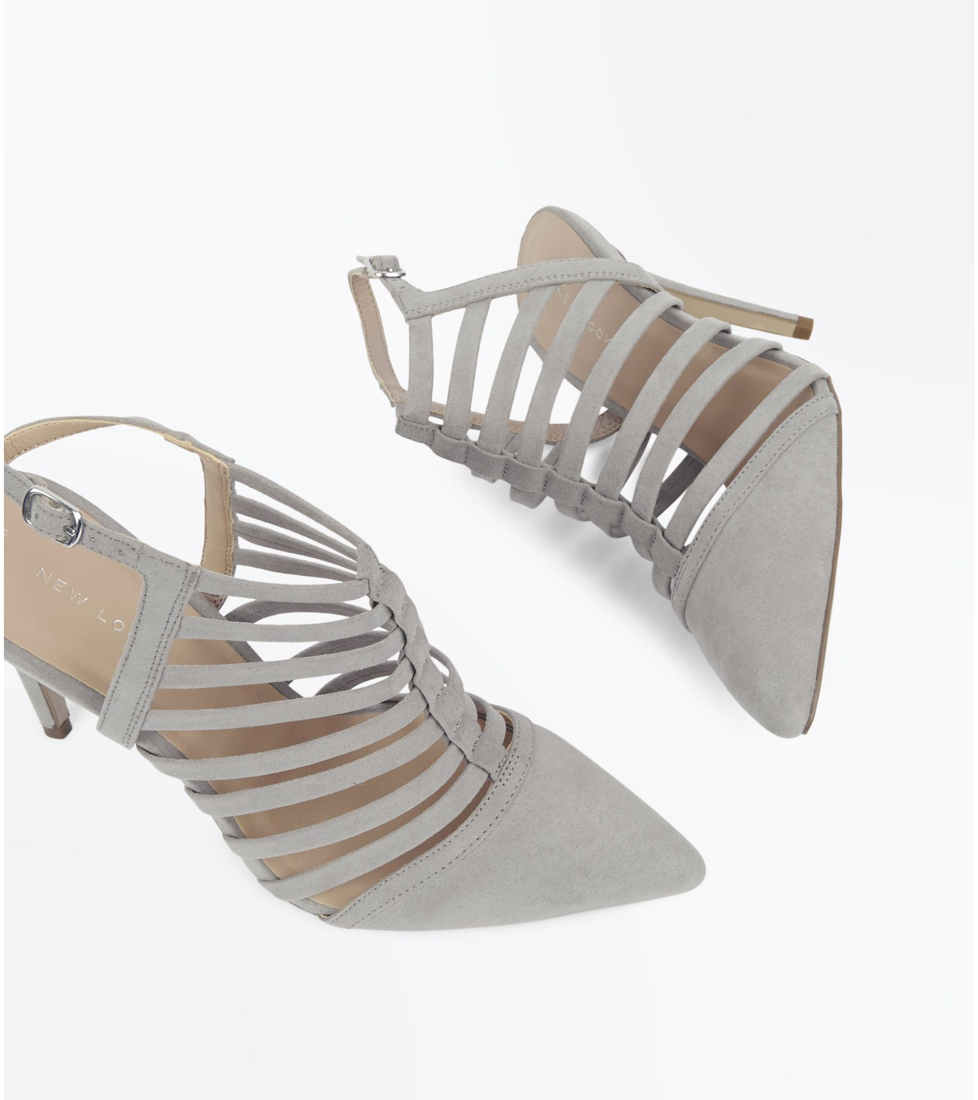 a7b6848195a6 New Look Grey Suedette Caged Pointed Stiletto Heels at £10