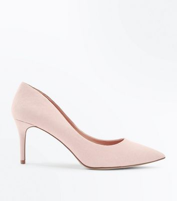 Nude Suedette Mid Heel Court Shoes