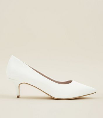 Wide Fit Off White Satin Kitten Heel Wedding Courts