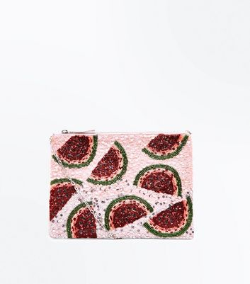 Pink Watermelon Sequin and Beaded Clutch