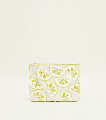 Yellow Lemon Beaded Flat Clutch Bag