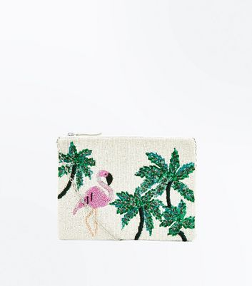 White Flamingo Sequin and Beaded Clutch Bag