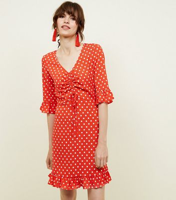 Blue Vanilla Red Polka Dot Tea Dress