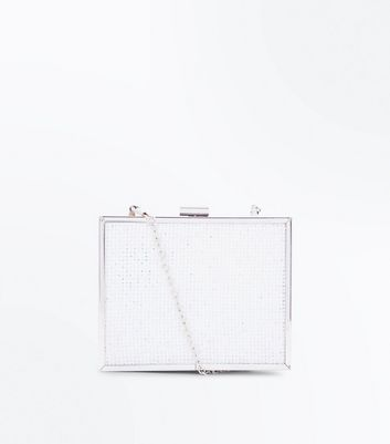 White Diamanté Wedding Box Clutch Bag by New Look
