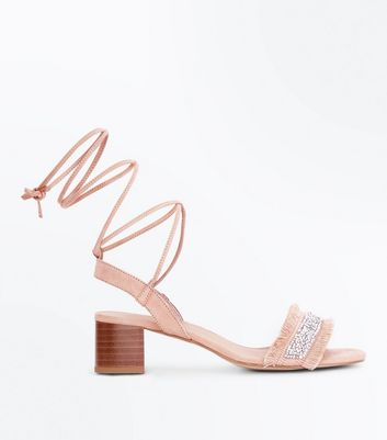 Girls Nude Fringe Strap Ankle Tie Sandals