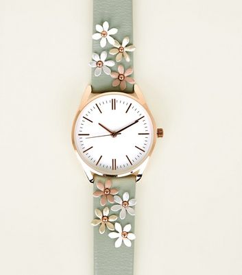 Green Applique Flower Strap Watch