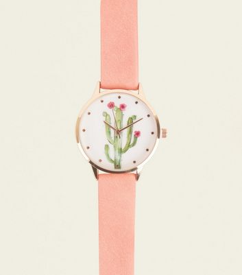 Pink Cactus Print Watch