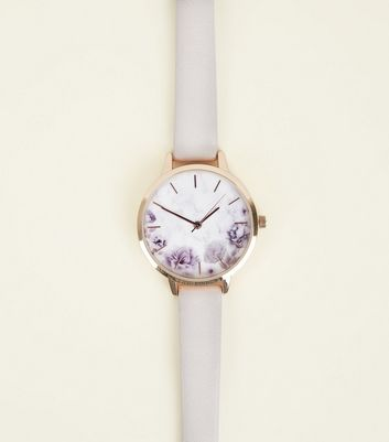 Lilac Floral Marble Effect Dial Strap Watch