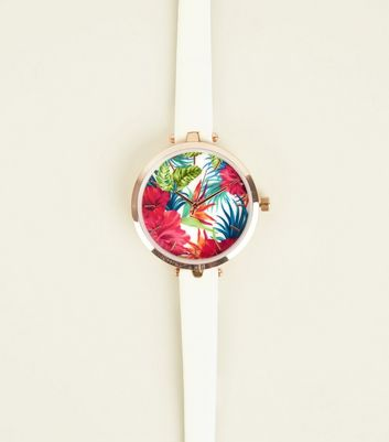White Tropical Print Dial Watch
