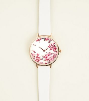 Dark Grey Floral Dial Strap Watch