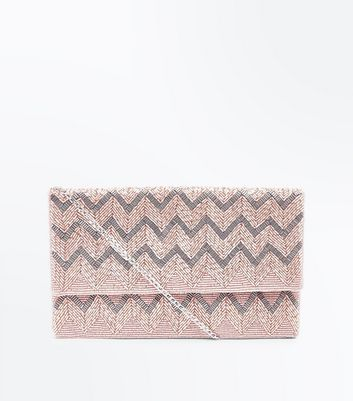 Rose Gold Zig Zag Beaded Envelope Clutch