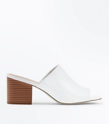 White Leather-Look Wood Block Heel Mules