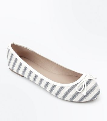 Wide Fit Blue Stripe Canvas Ballet Pumps